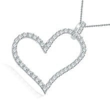 Load image into Gallery viewer, 14k-18k White Gold Heart Pendants-P-403