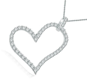 14k-18k White Gold Heart Pendants-P-403