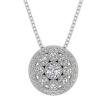 Load image into Gallery viewer, Halo Cluster Pendants 14k/18k Solid White Gold Natural Diamond I1 G 1.90 Ct Prong Bezel Set