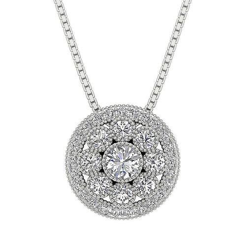 Diamond 14k-18k White Gold Pendants-DP332