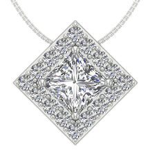 Load image into Gallery viewer, Square Halo Pendants 14k/18k Solid Gold SI1 G 0.75Ct Princess Round Diamond