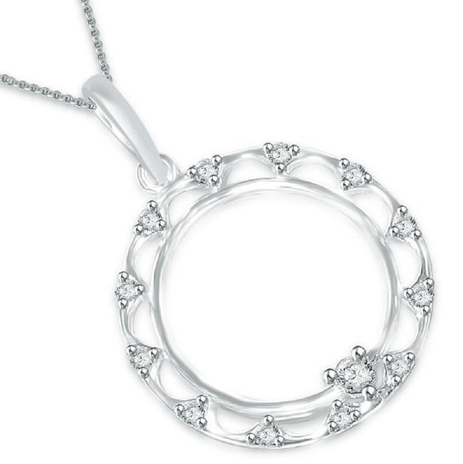 Circle Of Love Pendants 14k/18k Solid Gold SI1 G 0.25 Ct Natural Diamonds Pave Set