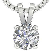 Load image into Gallery viewer, Round Cut Diamond White Gold Solitaire Pendants-DP81-0.50