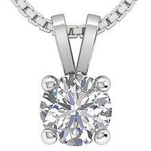 Load image into Gallery viewer, 14k/18k White Yellow Rose Gold I1 G 0.80Ct Solitaire Pendants Round Diamonds Prong Set 5.70MM