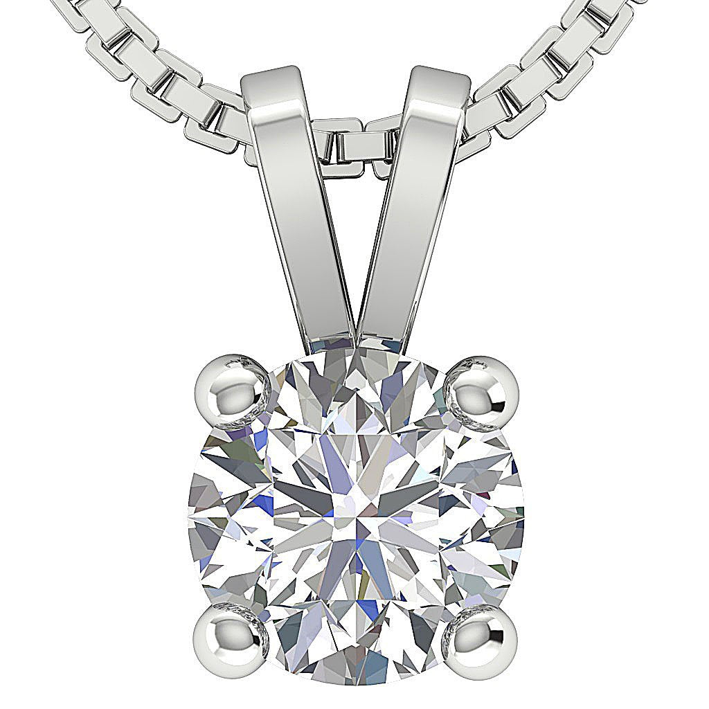 14k/18k White Yellow Rose Gold I1 G 0.80Ct Solitaire Pendants Round Diamonds Prong Set 5.70MM