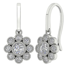 Load image into Gallery viewer, Cross View Round Diamonds Earrings-DE108