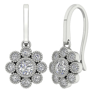 Cross View Round Diamonds Earrings-DE108