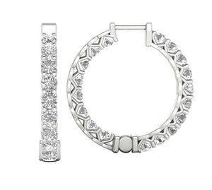 Inside Outside Hoop Earrings 14k Solid Gold Natural Diamonds SI1 G 1.50 Ct