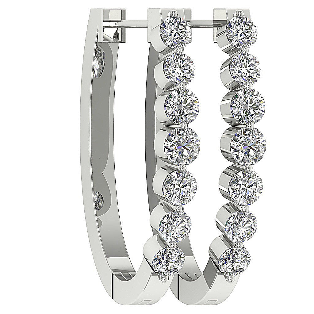 Large Hoops Earrings 14k Solid Gold SI1 G 1.10 Ct Natural Diamonds Bar And Channel Set