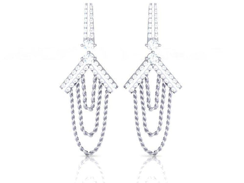 Dangle Chandelier Earring Designer Round Cut Diamond 14k White Gold-DE119