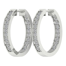 Load image into Gallery viewer, White Gold Designer Diamond Channel Set Earring-E-254