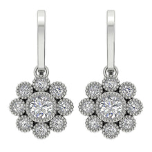 Load image into Gallery viewer, White Gold Halo Earrings-DE108