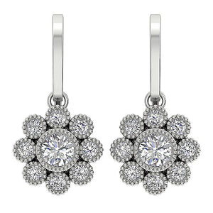 White Gold Halo Earrings-DE108