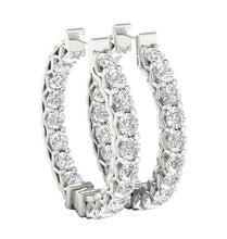Load image into Gallery viewer, Inside Outside Hoop Earrings 14k Solid Gold Natural Diamonds SI1 G 1.50 Ct