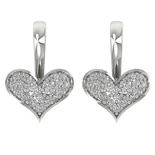 Load image into Gallery viewer, Dangle Heart Earrings Natural Diamonds 14k White Yellow Rose Gold I1 G 0.50 Carat