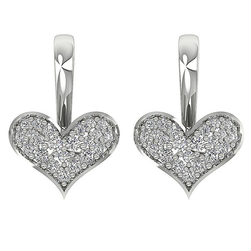 14k White Gold Heart Shape Earrings-DE155