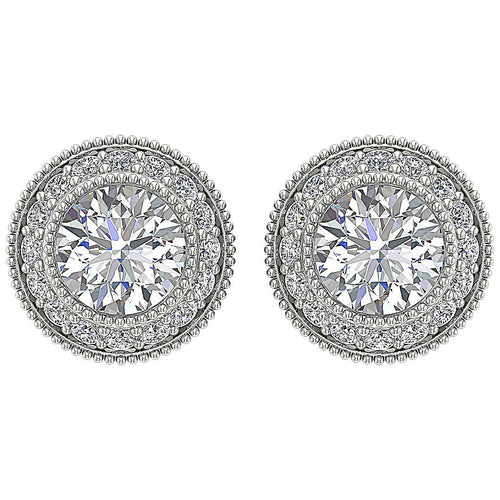 Designer Halo Solitaire Stud Earring SI1 G 1.20Ct 14k/18k Solid Gold Round Diamond Prong Bezel Set