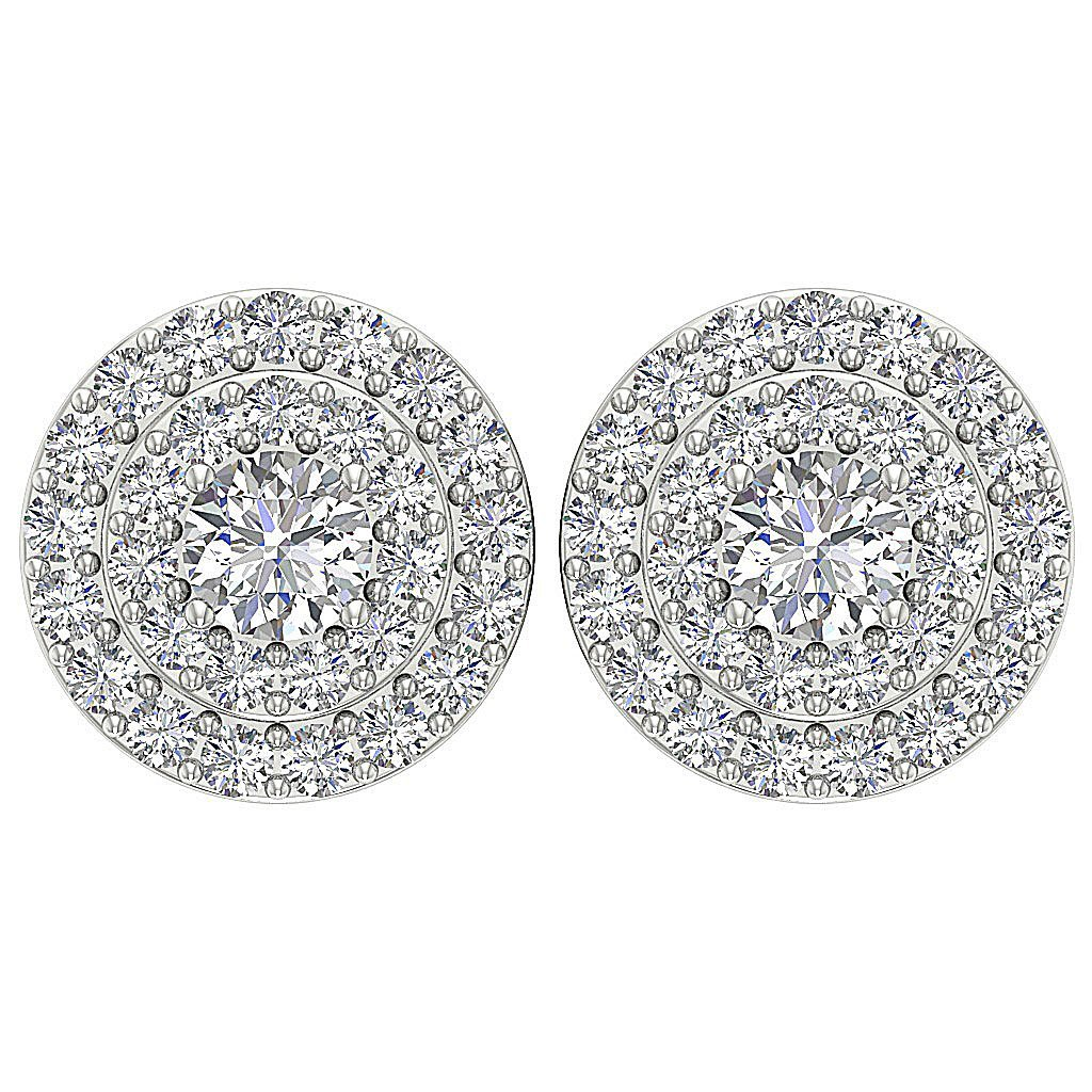 Halo Solitaire Studs Earrings I1 G 1.00 Ct 14k/18k Solid Gold Natural Diamonds