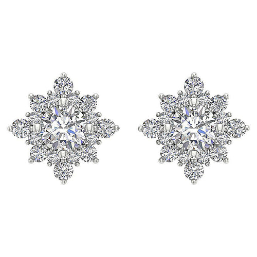 Round Diamond White Gold Earring-DE197
