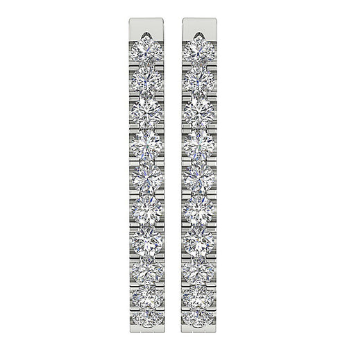 Front View Diamond White Gold Earring-DE19