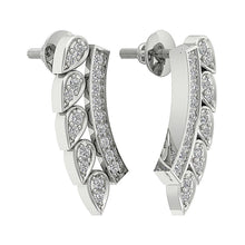 Load image into Gallery viewer, 14K White Gold Designer Natural Diamond Earring-DE207