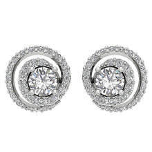 Load image into Gallery viewer, 14k/18k Solid Gold Round Diamonds I1 G 1.25Ct Removable Jacket Halo Solitaire Studs Earrings 9.90MM
