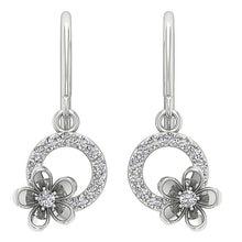 Load image into Gallery viewer, Dangle Earrings Round Cut Diamonds 14k White Yellow Rose Gold I1 G 0.40 Ct