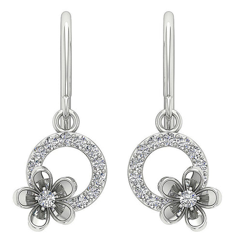 Front View 14k White Gold Flower Designer Earrings-DE230