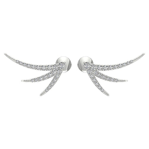 Designer Natural Round Cut Diamond White Gold Earring-DE255