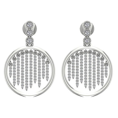 14k White Gold Earring Designer Natural Round Diamond-DE256
