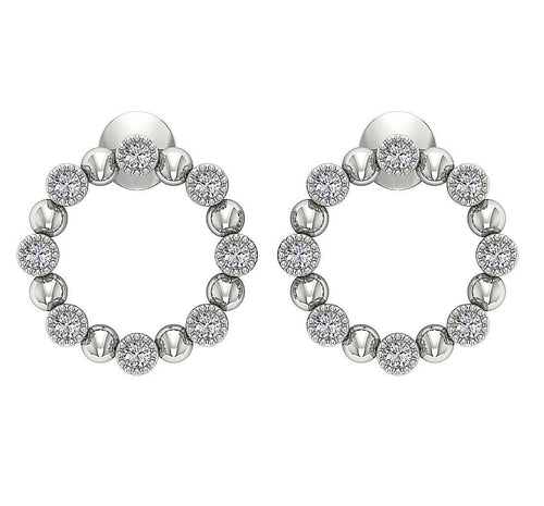 Fashion Milgrain Earrings 14k Solid Gold I1 G 0.50 Ct Round Cut Diamonds Bezel Set