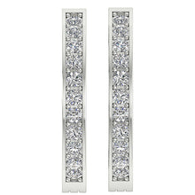 Load image into Gallery viewer, Medium Hoops Earrings 14k White Yellow Gold SI1 G 0.50 Ct Natural Diamonds Pave Set 0.78 Inch