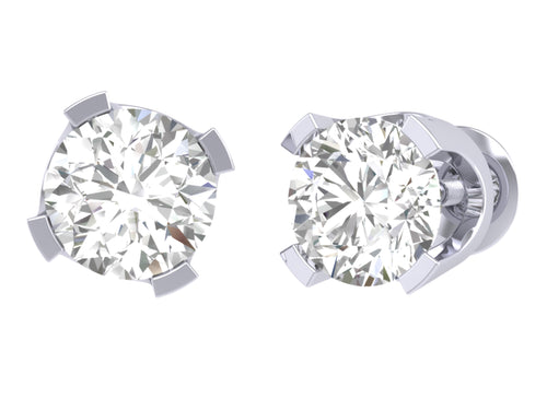 Solitaire Studs Earrings I1 G 0.40 Ct 14k / 18k Gold Natural Round Diamonds