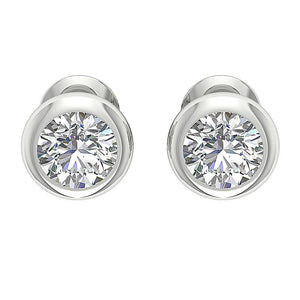 Designer Natural Diamond White Gold Bezel Set Earring-DST101-1.00CT
