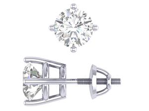 SI1 G 0.80 Ct Solitaire Studs Earrings 14k/18k White Gold Round Cut Diamonds