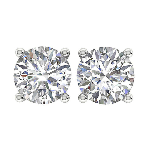 14k/18k White Gold Round Cut Diamonds I1 G 1.01 Ct Solitaire Studs Earrings