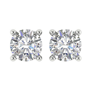 Solitaire Basket Studs Earrings 14k White Gold Natural Diamonds SI1 G 0.75 Ct