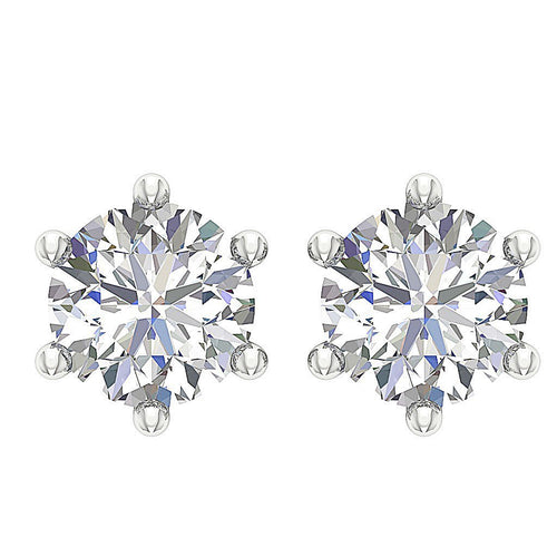 Six Prong Set Solitaire Studs Earrings 14k / 18k Natural Diamonds I1 G 0.40 Ct