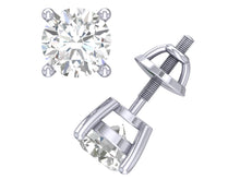 Load image into Gallery viewer, SI1 G 0.50 Ct Basket Set Solitaire Studs Earrings Round Cut Diamond 14k / 18k Gold