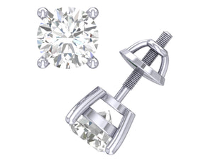 SI1 G 0.50 Ct Basket Set Solitaire Studs Earrings Round Cut Diamond 14k / 18k Gold
