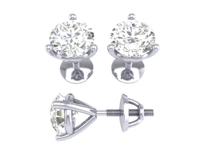14k/18k White Gold Natural Diamonds SI1 G 0.30 Ct Solitaire Studs Earrings Martini Prong Set 3.10MM