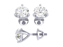 Load image into Gallery viewer, 14k/18k White Gold Natural Diamonds Solitaire Studs Earrings SI1 G 0.50 Ct Martini Prong Set 3.90MM