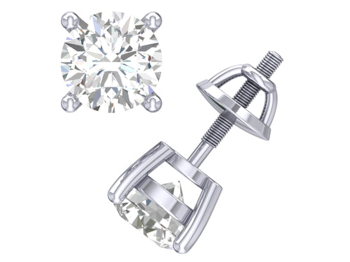 Basket Solitaire Studs Earrings 14k / 18k  Gold Round Cut Diamonds I1 G 0.40 Ct
