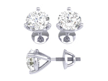 Load image into Gallery viewer, 14k/18k White Gold Round Diamonds I1 G 0.20 Ct Solitaire Studs Earrings Martini Prong Set 2.70MM