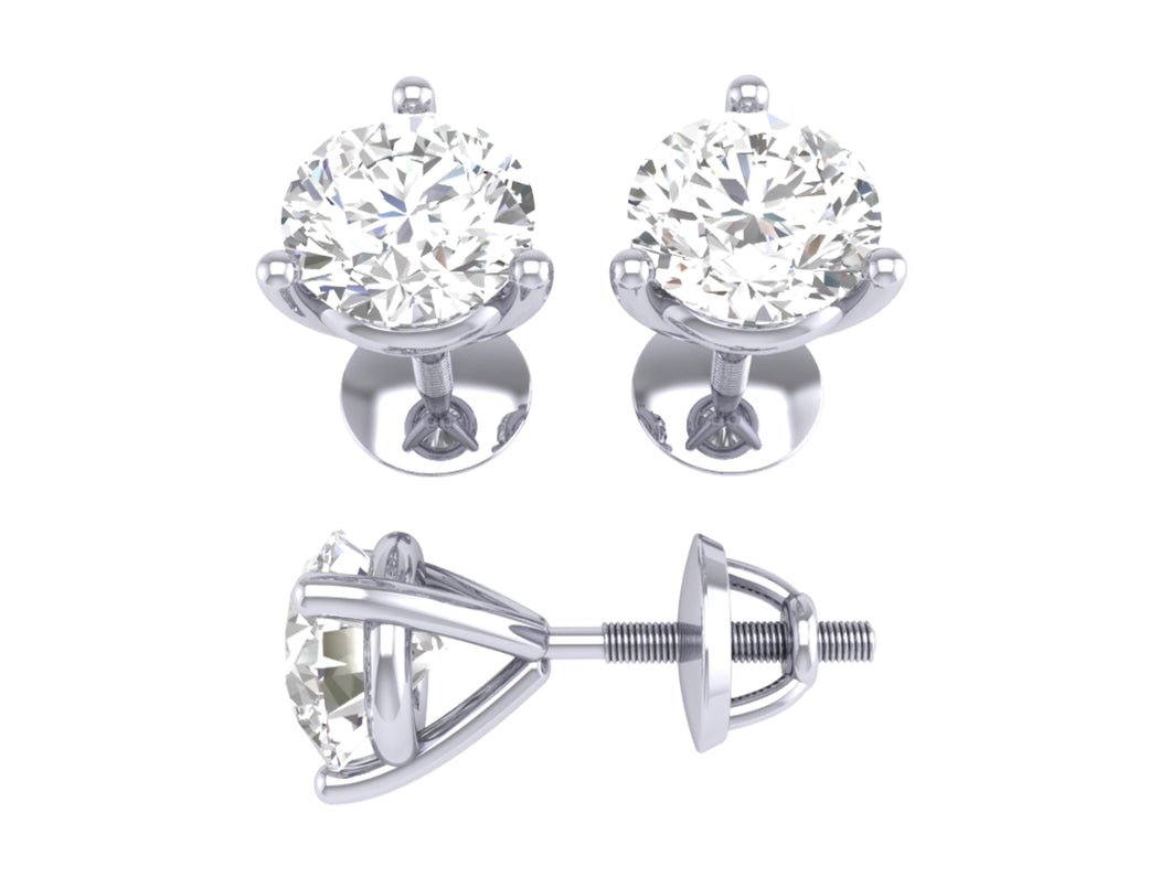 Natural Round Cut Diamond White Gold Earring-DST53
