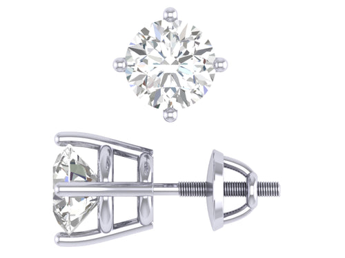 I1 G 1.60 Ct Solitaire 4 prong Basket Studs Earrings 14k/18k Gold Round Cut Diamonds