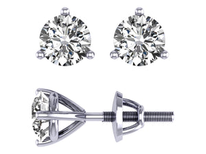 14k/18k White Gold Round Cut Diamonds Solitaire Studs Earrings I1 G 1.01Ct Martini Prong Set 4.90MM