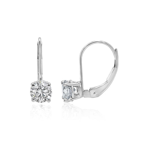 Lever Back Solitaire Studs Earrings 14k/18k White Gold I1 G 0.70 Ct Round Diamonds