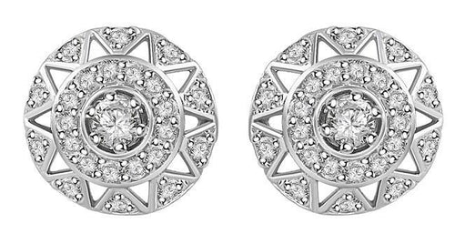 Round Diamond White Gold Earring-E-284