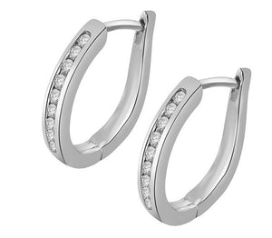 14k White Rose Gold Natural Diamonds I1 G 0.20 Ct Small Hoop Earrings Channel Set Length 0.59 Inch